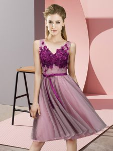 Pink Wedding Party Dress Wedding Party with Appliques V-neck Sleeveless Lace Up