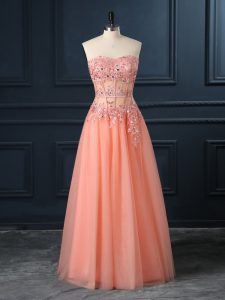 Popular Orange Sleeveless Floor Length Lace and Appliques Zipper Dress for Prom