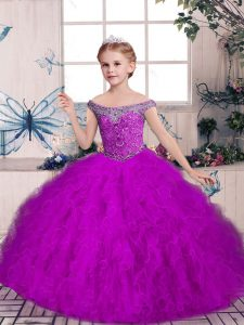 Purple Lace Up Off The Shoulder Beading and Ruffles Kids Formal Wear Tulle Sleeveless