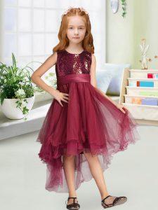Burgundy Sleeveless High Low Sequins and Bowknot Zipper Flower Girl Dress