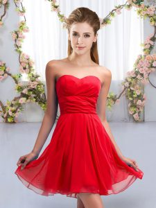 Luxurious Red Sweetheart Lace Up Ruching Bridesmaid Dress Sleeveless