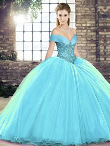 Dynamic Aqua Blue Ball Gown Prom Dress Off The Shoulder Sleeveless Brush Train Lace Up