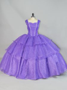 Floor Length Lavender 15 Quinceanera Dress Straps Sleeveless Lace Up