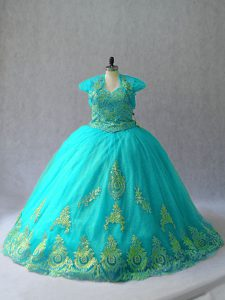 Fine Aqua Blue Ball Gowns Sweetheart Sleeveless Tulle Lace Up Appliques 15 Quinceanera Dress