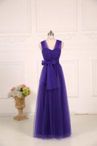 Purple Empire Ruching Dama Dress for Quinceanera Zipper Tulle Sleeveless Floor Length