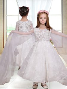 Designer Ankle Length Zipper Toddler Flower Girl Dress White for Wedding Party with Lace