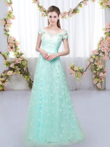 Low Price Off The Shoulder Cap Sleeves Lace Up Dama Dress for Quinceanera Apple Green Tulle