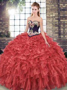 Fancy Red Sweetheart Neckline Embroidery and Ruffles 15 Quinceanera Dress Sleeveless Lace Up
