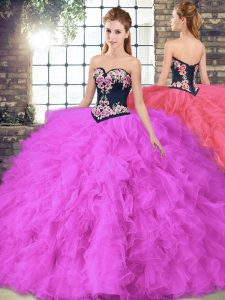 Elegant Floor Length Fuchsia Vestidos de Quinceanera Sweetheart Sleeveless Lace Up