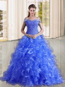Pretty Blue Organza Lace Up Off The Shoulder Sleeveless Sweet 16 Quinceanera Dress Sweep Train Beading and Lace and Ruff