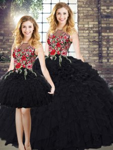 Black Sleeveless Embroidery and Ruffles Floor Length Quinceanera Dresses