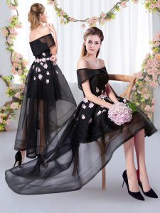 Top Selling Black A-line Appliques Court Dresses for Sweet 16 Tulle Short Sleeves High Low