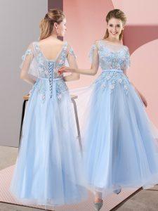 Artistic Light Blue Short Sleeves Floor Length Appliques Lace Up Formal Dresses