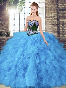 Sleeveless Beading and Embroidery Lace Up Ball Gown Prom Dress