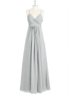 Wonderful Grey Chiffon Backless Spaghetti Straps Sleeveless Floor Length Prom Dress Ruching