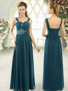 New Arrival Chiffon Sleeveless Floor Length Evening Dress and Beading and Ruching