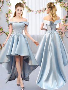 Glamorous High Low Light Blue Quinceanera Court Dresses Satin Sleeveless Appliques