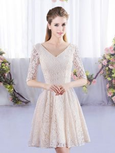 Champagne Empire V-neck Half Sleeves Mini Length Lace Up Lace Damas Dress