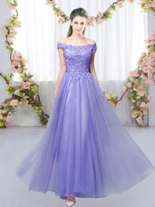 Super Lavender Empire Tulle Off The Shoulder Sleeveless Lace Floor Length Lace Up Dama Dress