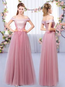 Latest Pink A-line Appliques Quinceanera Court Dresses Lace Up Tulle Sleeveless Floor Length