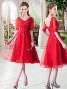 Red Tulle Lace Up V-neck Half Sleeves Knee Length Beading and Appliques