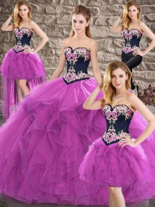 Purple Sweetheart Neckline Beading and Embroidery Sweet 16 Dress Sleeveless Lace Up