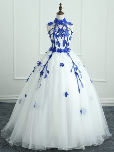 Glamorous Ball Gowns Quinceanera Dresses White High-neck Organza Sleeveless Floor Length Zipper