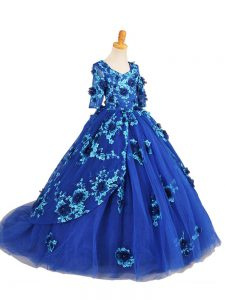 Top Selling Tulle V-neck Half Sleeves Brush Train Zipper Beading and Appliques Little Girl Pageant Gowns in Blue