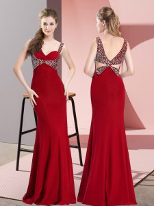 Mermaid Prom Dresses Red Straps Chiffon Sleeveless Floor Length Backless