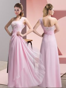 Cheap Baby Pink Sleeveless Floor Length Beading and Appliques Zipper Homecoming Dress