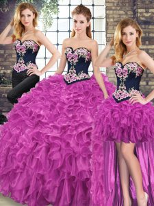 Decent Fuchsia Sweetheart Lace Up Embroidery and Ruffles Sweet 16 Dresses Sweep Train Sleeveless