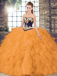 Great Orange Lace Up Ball Gown Prom Dress Beading and Embroidery Sleeveless Floor Length