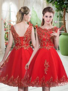 Traditional Red Sleeveless Tulle Lace Up Prom Dresses for Prom and Party
