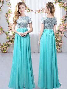 Chiffon Scoop Short Sleeves Zipper Sequins Dama Dress for Quinceanera in Aqua Blue