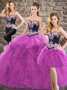 Tulle Sweetheart Sleeveless Lace Up Beading and Embroidery Vestidos de Quinceanera in Purple