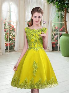 Fantastic Yellow Green Prom Dresses Prom and Party with Beading and Appliques Scoop Sleeveless Lace Up