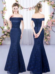 Floor Length Lace Up Quinceanera Court Dresses Navy Blue for Prom and Party and Wedding Party with Lace