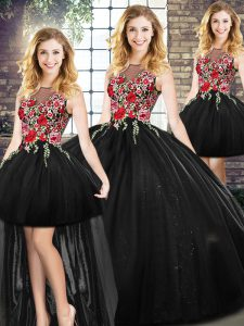 Enchanting Black Zipper Sweet 16 Quinceanera Dress Sleeveless Floor Length Embroidery