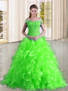 Gorgeous Sleeveless Organza Sweep Train Lace Up 15 Quinceanera Dress in with Beading and Lace and Ruffles