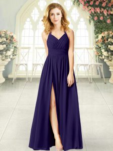 High Class Purple Prom Party Dress Prom and Party with Ruching Halter Top Sleeveless Zipper