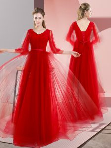 Red V-neck Lace Up Beading Prom Evening Gown Long Sleeves