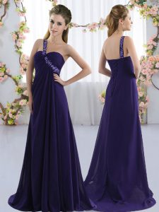 Luxurious Purple Empire Chiffon One Shoulder Sleeveless Beading Lace Up Quinceanera Court of Honor Dress Brush Train