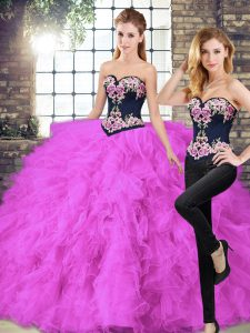 Sleeveless Tulle Floor Length Lace Up Quinceanera Gown in Fuchsia with Beading and Embroidery