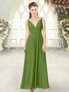 Custom Made Olive Green Backless V-neck Ruching Prom Dress Chiffon Sleeveless