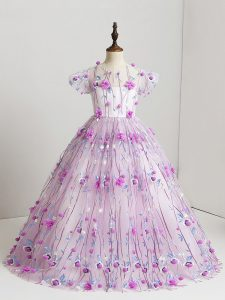 Fashionable Tulle V-neck Short Sleeves Zipper Hand Made Flower Little Girls Pageant Dress in Lilac