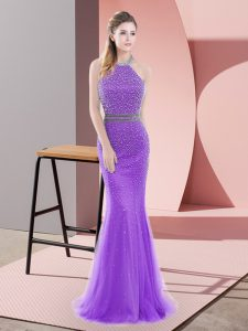 Fantastic Purple Mermaid Halter Top Sleeveless Tulle Sweep Train Backless Beading Prom Party Dress