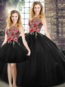 Pretty Black Tulle Zipper Scoop Sleeveless Floor Length Ball Gown Prom Dress Embroidery
