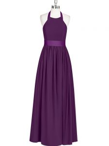 Fancy Halter Top Sleeveless Prom Party Dress Floor Length Ruching Eggplant Purple Chiffon