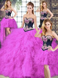 Fabulous Fuchsia Sleeveless Tulle Lace Up 15 Quinceanera Dress for Sweet 16 and Quinceanera