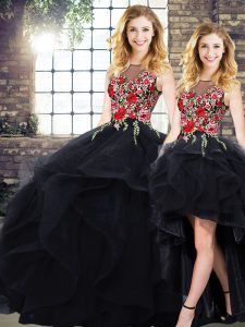Glittering Sleeveless Floor Length Beading and Embroidery Lace Up Quinceanera Dress with Black